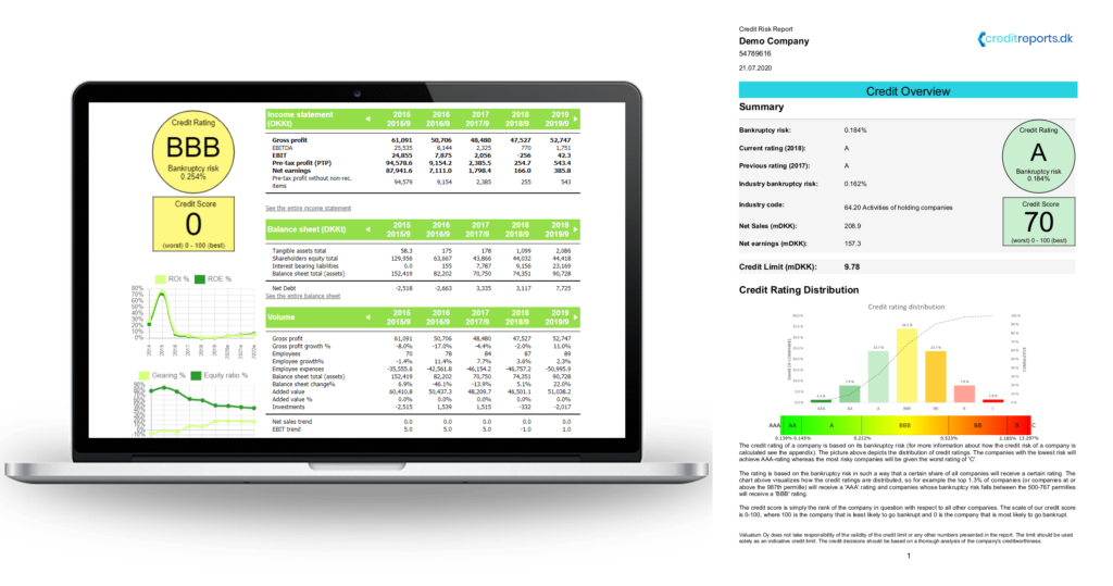 Platformen til kreditrisikorapport, som inkluderer kreditvurdering, kreditgrænse, konkursrisiko, finansiel information til virksomheder i Danmark